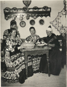 Hungarian Easter Postcard Matyo women painting eggs 1930s 1950s